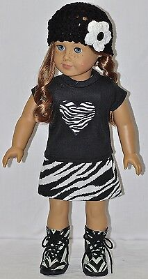 "American Made Doll Clothes For 18"" Girl Dolls Black Top Zebra Heart Skirt Set on Rummage"