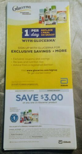 Pack Of 25 Glucerna Coupons 3 Off Any One GLUCERNA Product Expires 06/30/2021 - $28.00