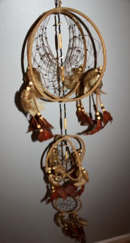 VINTAGE LARGE 3 TIER LEATHER FEATHERS DREAM CATCHER WALL ART