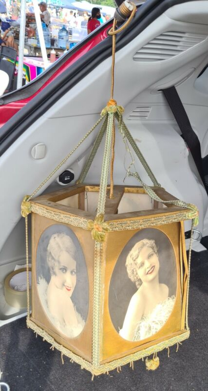 Antique Victorian Brothel Red Light Celloloid  Photo Lamp Naughty Risque Ladies