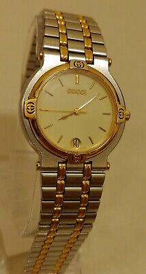 Authentic Gucci Men Gold and Silver Watch 9000M Sapphire Crystal Unisex