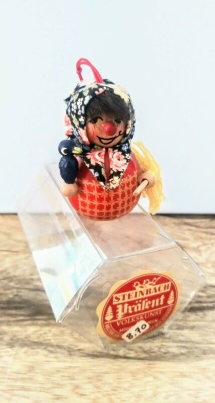 Vintage German Steinbach Wooden Nutcracker Ornament The Little Witch