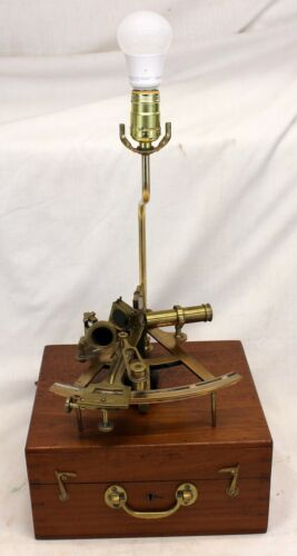 antique Brass SEXTANT Hand Made LAMP ~ Original Jointed Box ~ Maritime Decor