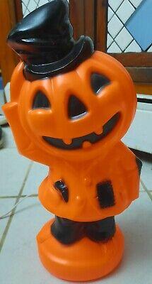 "Vintage 1969 Empire Blow Mold Pumpkin Scarecrow Top Hat 14"" Light"