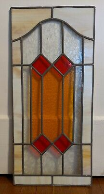 SUPERB VINTAGE STAINED GLASS PANEL ~ (CARAMEL SLAG, AMBER, RED & ETCHED CLEAR) Vintage Stained Glass