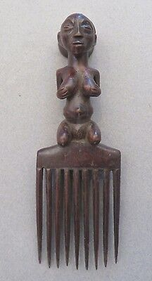 """Vintage African Luba Hair Comb,Ornament/Carved Wood, Female Figure/8 1/2"""""""