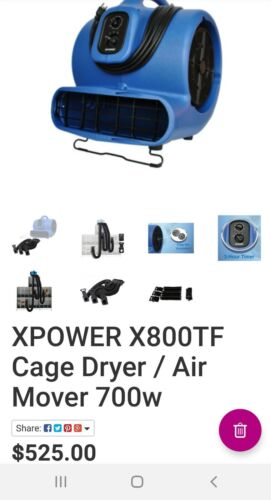 XPOWER X-800TF Cage Dryer/Air Mover 700W