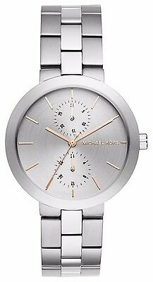 NWT Michael Kors Women's Garner Stainless Steel Bracelet Watch Silver MK6407