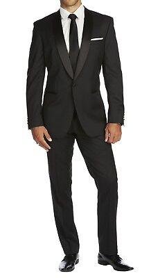 Braveman Solid Black Slim Fit 1 Button Tuxedo Suit w/ Satin Shawl Lapels ()