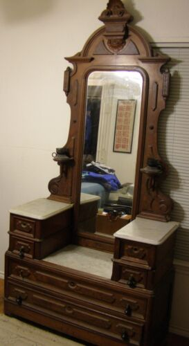 Victorian Marble-Top Drop Center Dresser