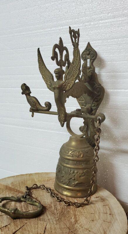 "Gorgeous Vintage Brass Monastery Hanging Bell ""VOCEM MEAM AUDI QUI ME TANGIT"