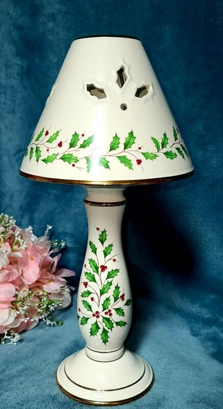 """Lenox Holiday Dimensions Holly Berry Candle Tealight Candlestick Lamp 14"""" Tall"""