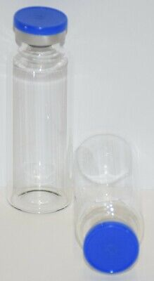 30 mL Tubular Clear Sterile Vial with Medium Blue Plain Flip Off Seal 3 Pack
