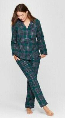Gilligan & O'Malley Flannel Sleepwear Pajamas Pants Top Green Plaid NWT size S ()