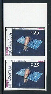 NICARAGUA SPACE Specialized: Scott #1657 25C Cosmonaut Day IMPERF PAIR $$$