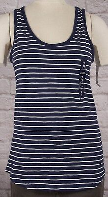 NWT Womens GAP Easy Tee Tank Top Navy/White Stripe - 807205