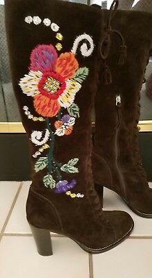 Miu Miu Italy embroidered knee high boots size (Miu Miu Sizing)