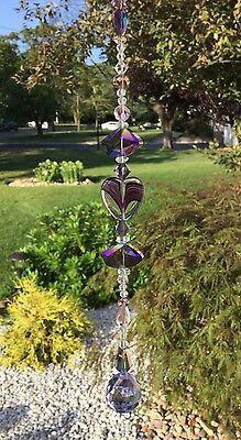 Healing Purple Heart Crystal Suncatcher W/Swarovski Elements Lavender Ball USA Purple Heart Crystal