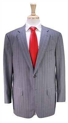 ISAIA Napoli Current Model Gray Chalkstripe 130's 2-Ply Wool 2-Btn Suit 42R