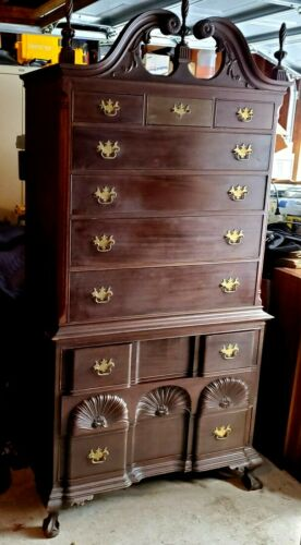 1924 Mahogany Highboy Dresser. Top Broken Arch,3 Finials, Claw &Ball Ft