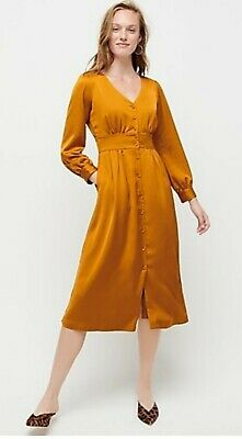 NEW J.CREWCarmel Button Front A-line MIDI Long Sleeve Dress Knee Length Sz 4