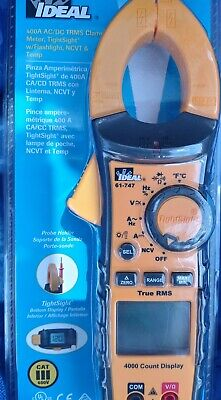 Ideal 61-747 Digital 400a Acdc Trms Clamp Meter With Leads Multimeter