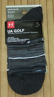 Under Armour Golf Performance Athletic Mid Sock Size Large Black/Gray (9 -12.5)