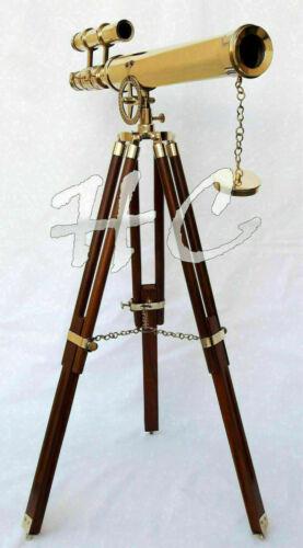 "Nautical 18"" Brass Marine Double Barrel Telescope Navy With Wooden Tripod Gift"