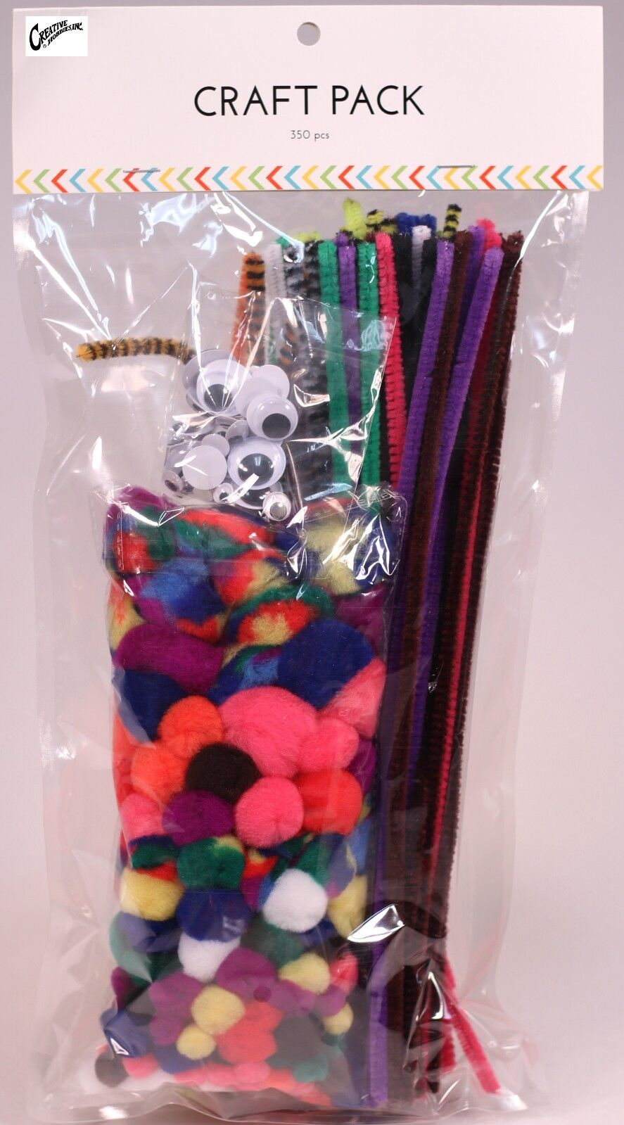 350 pc Craft Kit Value Pack, Primary Color, Pom Poms, Googly Eyes, Pipe Cleaners Craft Kits