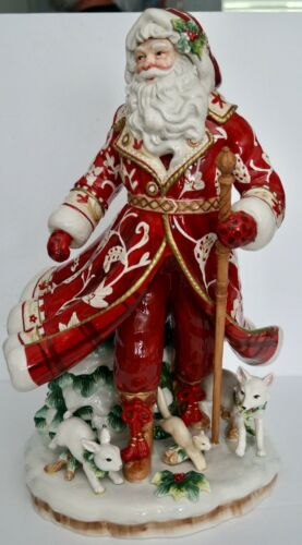 """Fitz and Floyd TOWN & COUNTRY 19"""" SANTA Figurine w/ 11"""" Base in Original Box"""