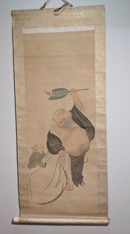 Japanese Hanging Scroll Vtg Kakejiku Kakemono Bhudda and boy A10