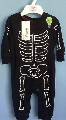 BNWT M&S ALL IN ONE, BODY SUIT AGE 3-6 MONTHS, SKELETON ,FREE POSTAGE ,Halloween