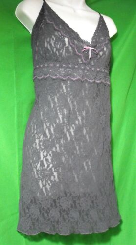 NEW HANKY PANKY 485091X GRAY/PK MADE IN USA LACE LINGERIE STRAP CHEMISE 3X
