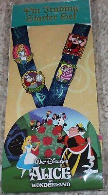 Disney Parks Alice in Wonderland Pin Starter Set Pins Trading Lanyard NEW
