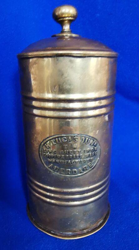 Antique 19thc Welsh miners brass TOBACCO twist tin - H Lucas ABERDARE