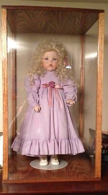 solid oak 12 by 12 by 24 inch doll case display