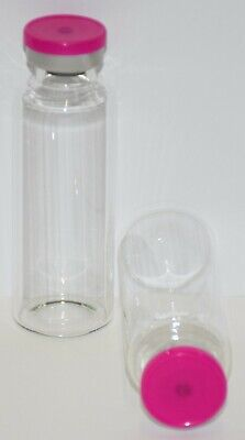 30 mL Tubular Clear Sterile Vial with Fuchsia Pink Plain Flip Off Seal 3 Pack