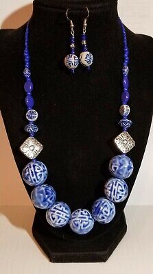 Porcelain Chinese Asian Blue & White Necklace And Earrings