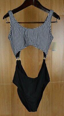 SO Monokini Swimsuit Black White Buffalo Check Plaid Silver Rings Juniors XL NWT](Juniors Monokini)