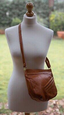 Vintage Tan Leather Adjustable Strap Medium Crossbody Handbag BNWOT