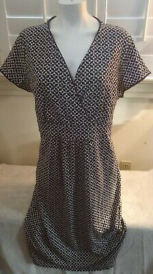 Boden Dress V-Neck Faux Wrap Bodice Banded Waist Navy Geometric Print Sz US 18L Banded Waist V-neck Dress