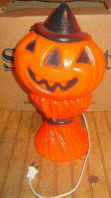 Vintage Halloween Blowmold Pumpkin Head Scarecrow Gregg Products Plastic w/Light