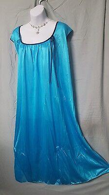 Only Necessities Aqua Blue Nightgown Sort Sleeve  Calf Plus Size 3X 60