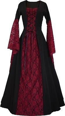 Mittelalter Halloween Larp Gewand Kleid Kostüm Elisabeth Schwarz-Bordeaux XS-60