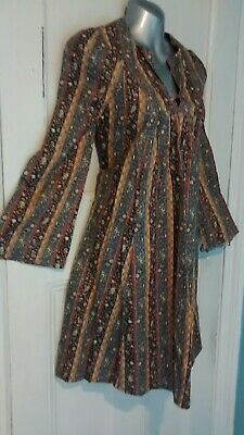 True Vintage 60s/70s Smock Dress Size 8 Gypsy Boho Folk Prairie Peasant Hippie
