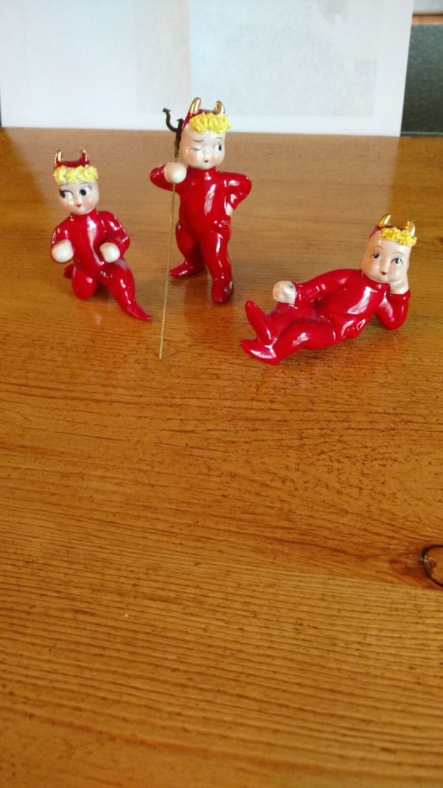 Купить Vintage Lefton Red Devil Christmas Figurine/ Japan  Lot of 3