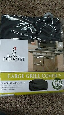 BRAND NEW GRAND GOURMET LARGE GRILL COVER 60 INCH SECURES TIGHTLY KEEP GRILL (60 Inch Deluxe Grill Cover)