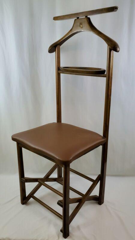 Mid-Century MCM Italian Walnut Folding Valet Butler Chair Stand w/Hanger & Tray
