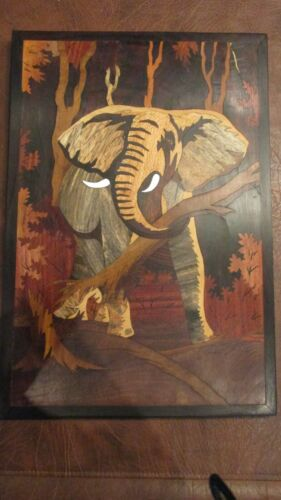 Hand Crafted Wall Art Picture Separate Wooden Pieces Elephant Beautiful