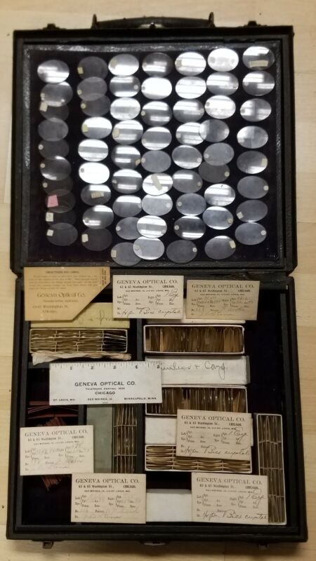 Antique Geneva Optical Co. Optometry Salesman Travel Kit with Several Lenses